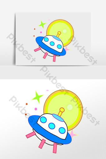 dibujado a mano 720 exploración espacio luna nave espacial ilustración Elementos graficos Modelo PSD