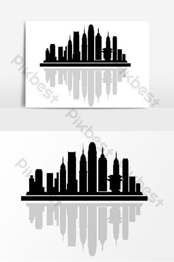 اليوم العالمي للهندسة المعمارية مجموعة المباني صورة ظلية مرسومة باليد العناصر صور PNG قالب PSD