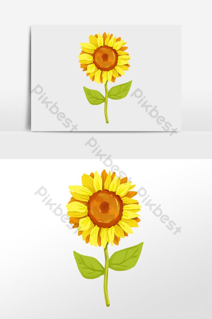 Ilustrasi Tanaman Bunga Matahari Kuning Yang Digambar Tangan