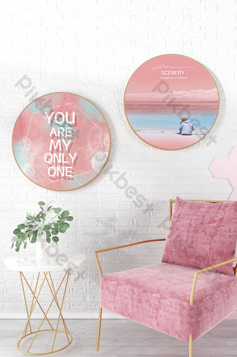 Nordic light color girl heart pink sea English living room round decorative painting Decors & 3D Models Template PSD