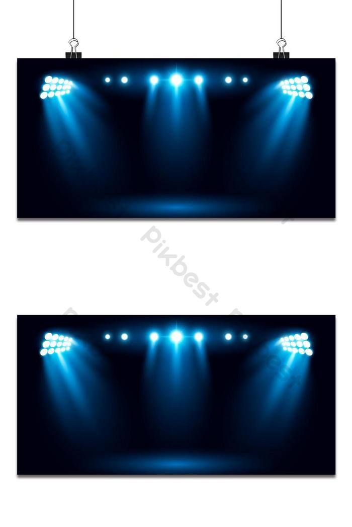 bright stadium arena lighting effect cinema spotlight blue background