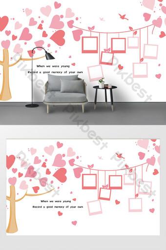 الوردي الكرتون الخوخ القلب شجرة إطار الصورة الإبداعية الجدار ملصق خلفية الديكور الديكور والنموذج قالب PSD