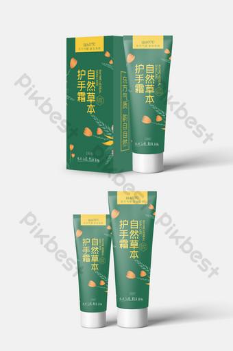 simple ilustración gráfica verde crema de manos fresca diseño de envases cosméticos Modelo PSD