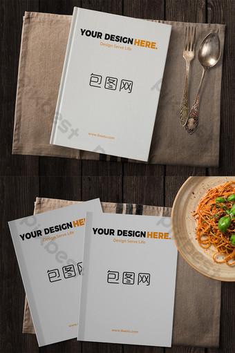 mesa de comedor retro con libros y diseño de escena de maqueta de folleto Modelo PSD