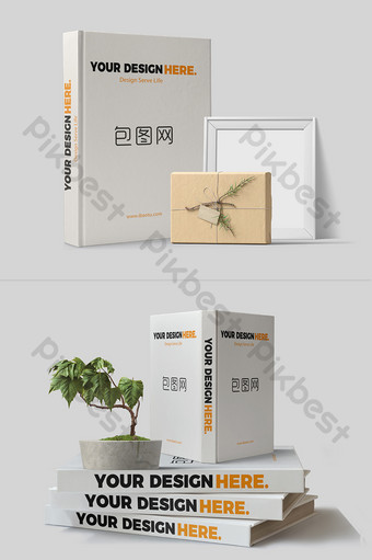 Hình ảnh đơn giản Sách giới thiệu trong chậu cây xếp chồng thẳng đứng thiết kế mockup sách Bản mẫu PSD