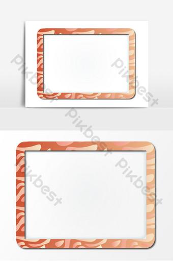 木製相框卡通紋理矢量邊框 元素 模板 AI