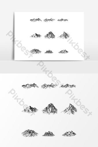 elemento de diseño de patrón decorativo de silueta de pico de montaña de vector Elementos graficos Modelo AI