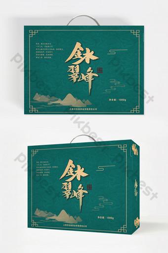 الذهب الأخضر تتبع المياه الذهبية تغليف الشاي cuifeng قالب PSD
