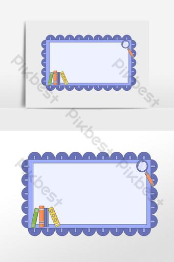 手繪學習文具書放大鏡邊框圖 模板 PSD