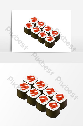 Cartoon seaweed wrapped rice vector elements Template AI