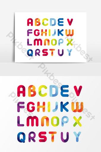 彩色英文字母漸變設計 元素 模板 AI