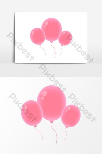 elemento de globo de dibujos animados lindo redondo de fantasía rosa vector ai Modelo AI
