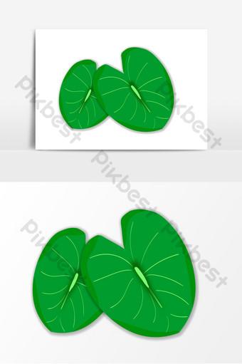 dibujado a mano elemento de vector de hoja de loto verde ai Modelo AI