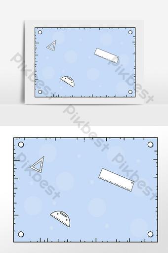 手繪教師節學習文具尺子邊框圖 模板 PSD