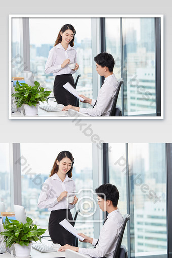Business office team white-collar customer service holding coffee cup in hand Photo Template JPG