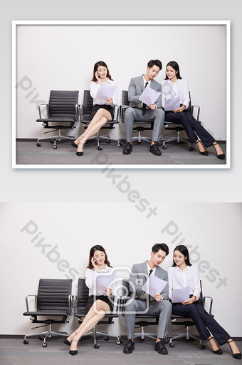 Business office team interview three people holding documents and communicating Photo Template JPG