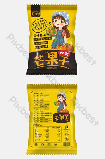 Cute, fresh and secret dried mango packaging Template CDR