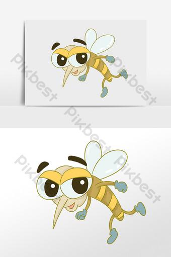 手繪卡通吸血害蟲昆蟲蚊子圖 模板 PSD