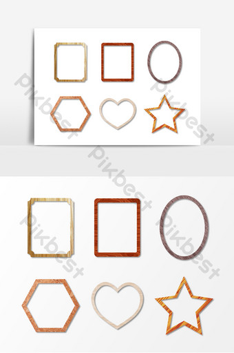 elemento de vector de marco de foto de madera patrón de textura gráfica irregular Modelo AI