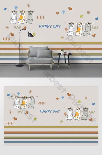 latar belakang kamar anak-anak stiker dinding kucing kecil segar dan lucu Dekorasi dan model Templat PSD