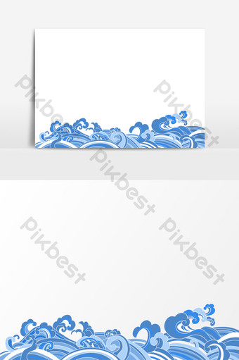 sea water pattern drawing cartoon image elements Template PSD