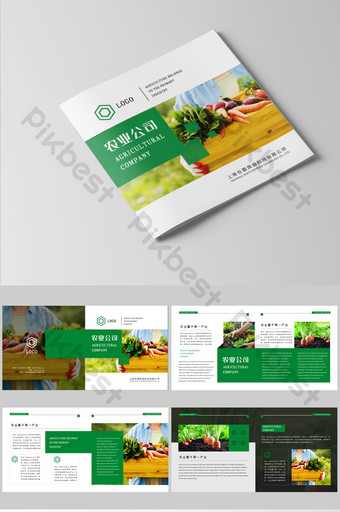 whole set design of green agricultural company brochure Template CDR