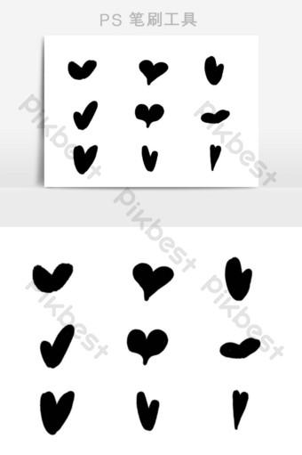فرشاة الحب على شكل قلب أسود قالب