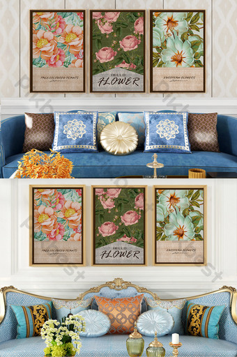 復古歐式花卉植物英文客廳臥室裝飾畫 裝飾·模型 模板 PSD