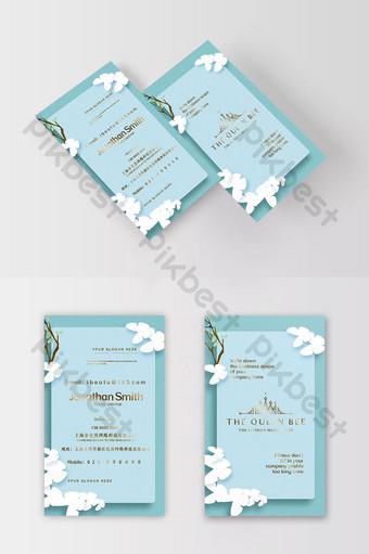 Carte de visite bronzante d'élément de papillon de style de papier bleu d'eau littéraire fraîche Modèle PSD