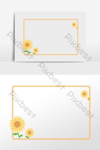 手繪卡通可愛植物向日葵邊框插畫 元素 模板 PSD