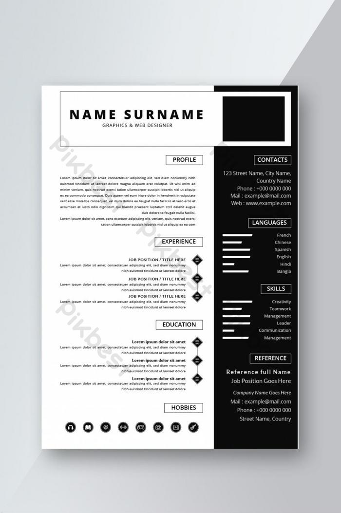 black white minimalist resume cv template design