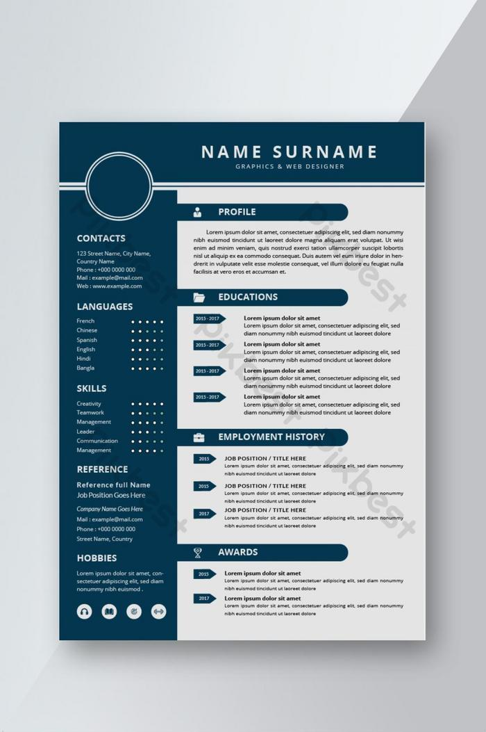 simple modern resume cv template design for interview