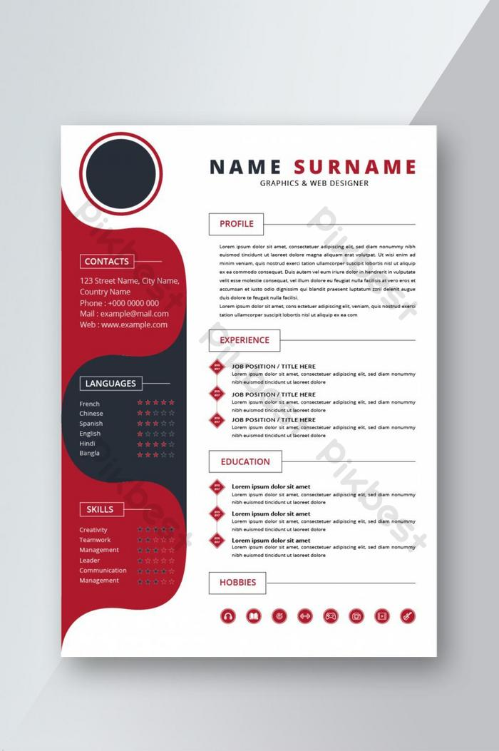 Red Black Creative Resume Cv Template For Interview Word Doc