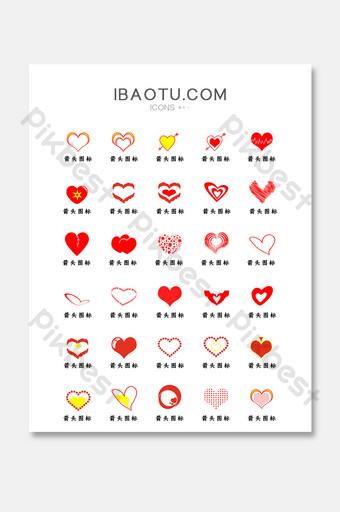 icono de icono de interfaz de usuario gráfico de amor en forma de corazón rojo UI Modelo PSD