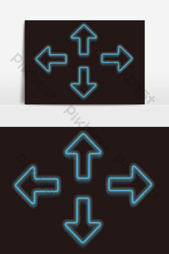 漸變霓虹燈紋理微三維方向箭頭元素 元素 模板 AI