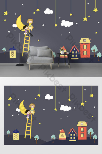 كارتون الأطفال غرفة رمادي غامق خلفية الجدار القمر منزل الاطفال ملصقات الديكور والنموذج قالب PSD
