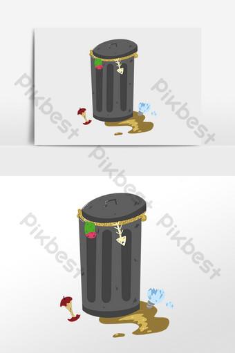 手繪污染環境垃圾桶插畫 元素 模板 PSD