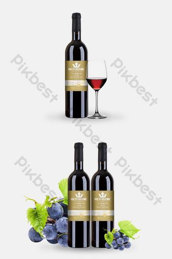 corona de oro estilo europeo diseño de empaque de vino de uva tinto seco Modelo PSD
