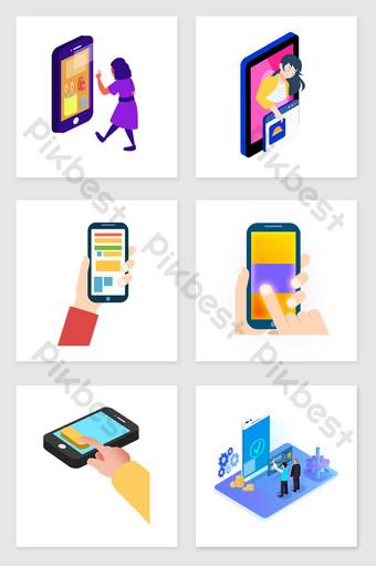dibujado a mano elementos de ilustración de conjunto de compras con teléfono móvi Ilustración Modelo PSD