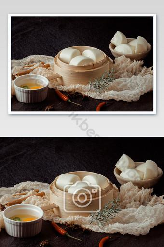 قطع سكين الإفطار الصينية التقليدية كعكة على البخار صورة التصوير التصوير قالب JPG