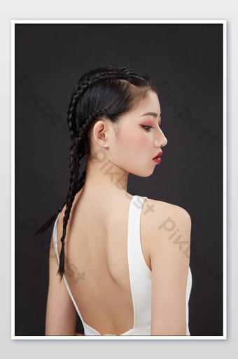 Sports sexy combat tresse couverture de l'affiche du magazine de maquillage beauté fille cool La photographie Modèle JPG
