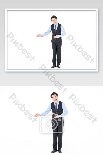 Business white-collar customer service standing welcome Photo Template JPG