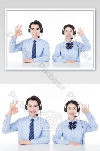 Business men and women white-collar customer service OK gesture Photo Template JPG