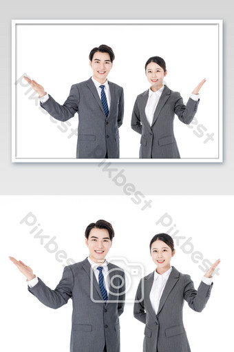 Business men and women white collar introduction service Photo Template JPG