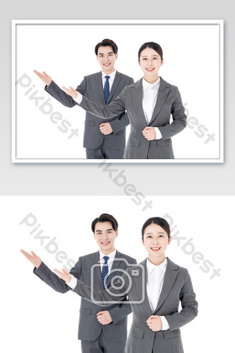 Business men and women white collar sales service gestures Photo Template JPG