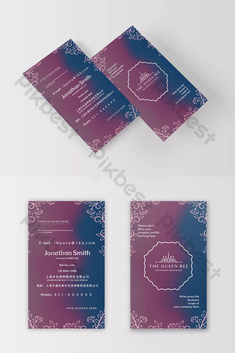 tarjeta de visita de elemento de borde de línea degradada roja y azul simple romántica Modelo PSD