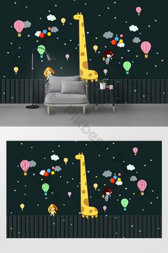 لطيف الكرتون الصغيرة الطازجة ملصقات الحائط غرفة الأطفال الديكور الديكور والنموذج قالب PSD