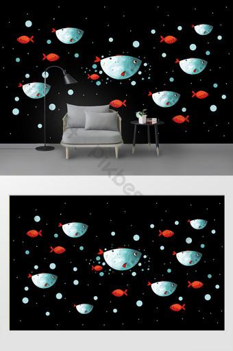 صغيرة الكرتون الأسماك ملصقات الحائط غرفة الأطفال الديكور الديكور والنموذج قالب PSD