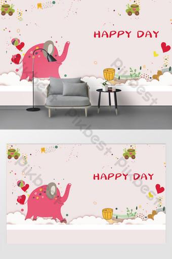 卡通動物大象兒童臥室背景牆 裝飾·模型 模板 PSD
