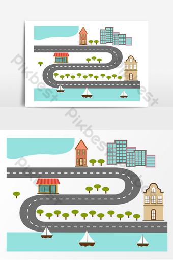 Dessin animé plat route maison ville urbaine carte dessinée à la main Éléments graphiques Modèle PSD